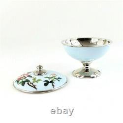 Vintage Sato Japanese Cloisonne Covered Dish Roses Robins Egg Blue Enamel