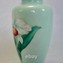 Vintage japanese Cloisonne vase silver wired Orchid design