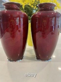 Vintage pair japanese Ginbari cloisonne Vases Pigeon Blood Enamel Beautiful