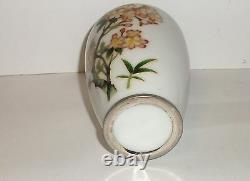 White Japanese Ando Cloisonne Enamel Floral Vase 43/4 H