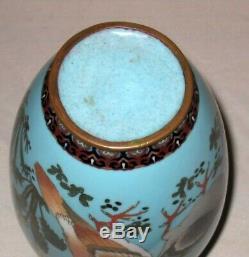Wonderful Antique Large Meiji Period Japanese Cloisonne Enamel Vase with Pigeons
