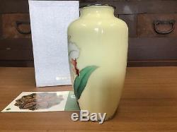 Y0544 FLOWER VASE Sippo Ando Cloisonne Cattleya Japanese antique ikebana kabin