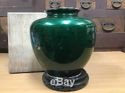 Y0562 FLOWER VASE Cloisonne box green pine Japanese antique ikebana kabin Japan