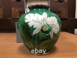 Y0832 FLOWER VASE cloisonne green box home decor Japanese antique ikebana kabin