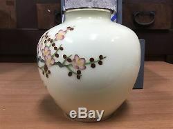 Y0833 FLOWER VASE cloisonne cream plum box Japanese antique ikebana kabin
