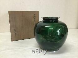 Y1207 FLOWER VASE Ando Cloisonne signed box Japanese antique ikebana kabin